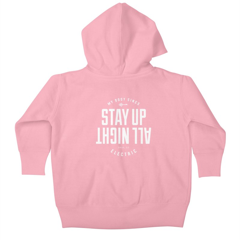 Up All Night (White) Kids Baby Zip-Up Hoody by My Body Sings Electric Merch | Shop Men, Women, an