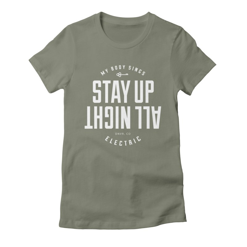 Up All Night (White) Women's Fitted T-Shirt by My Body Sings Electric Merch | Shop Men, Women, an