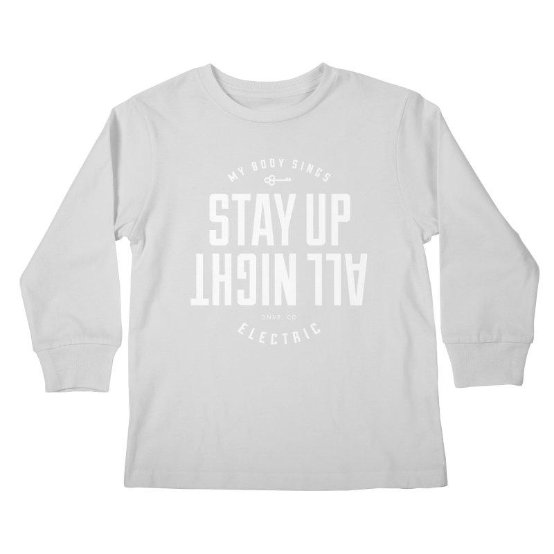 Up All Night (White) Kids Longsleeve T-Shirt by My Body Sings Electric Merch | Shop Men, Women, an