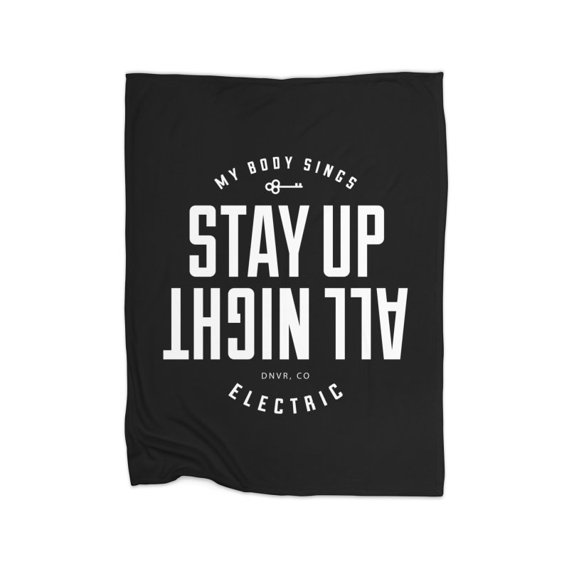 Up All Night (White) Home Fleece Blanket Blanket by My Body Sings Electric Merch | Shop Men, Women, an