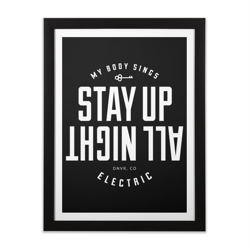 Up All Night (White) Home Framed Fine Art Print by My Body Sings Electric Merch | Shop Men, Women, an