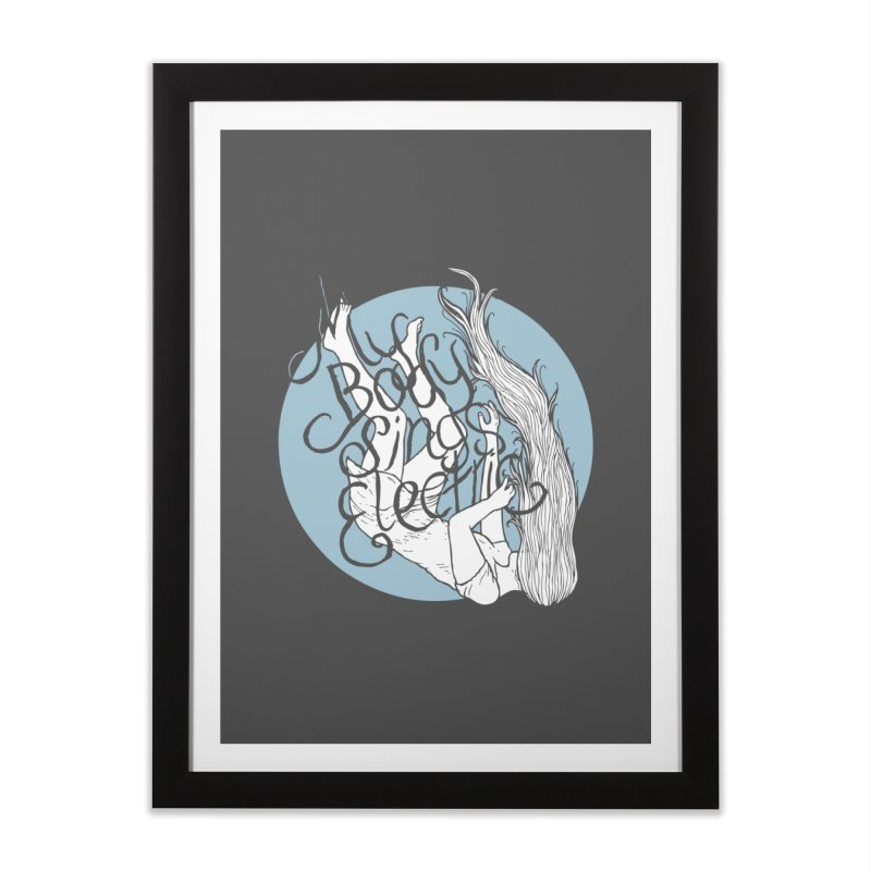 Falling For You (Blue) Home Framed Fine Art Print by My Body Sings Electric Merch | Shop Men, Women, an