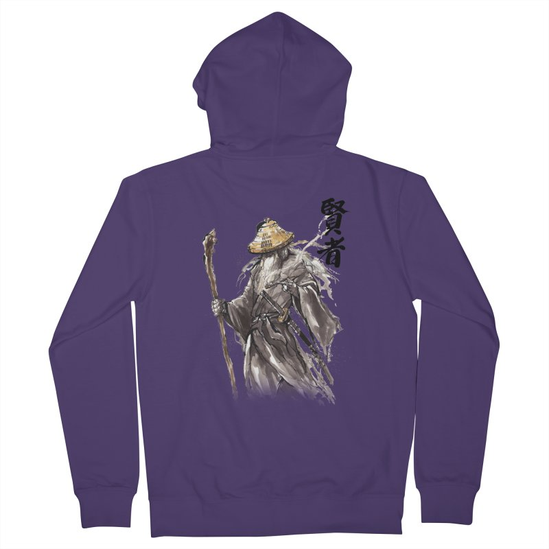 Samurai Gandalf with Japanese Calligraphy Wise Man Women's Zip-Up Hoody by mycks's Artist Shop
