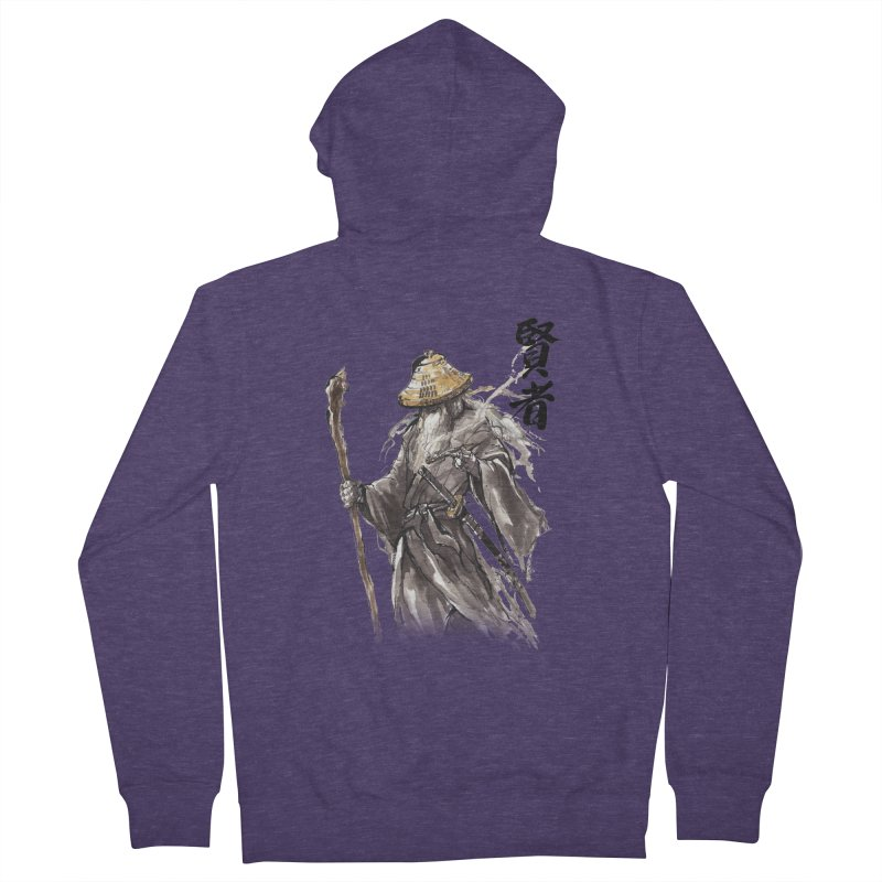 Samurai Gandalf with Japanese Calligraphy Wise Man Men's Zip-Up Hoody by mycks's Artist Shop