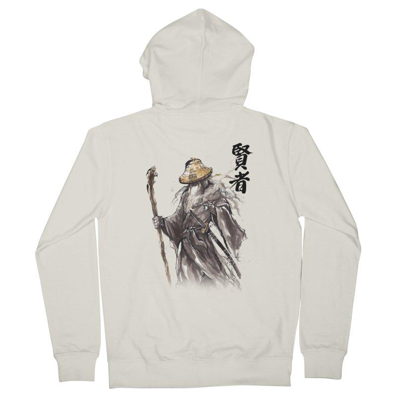 Samurai Gandalf with Japanese Calligraphy Wise Man Men's Zip-Up Hoody by mycks's Artist Shop