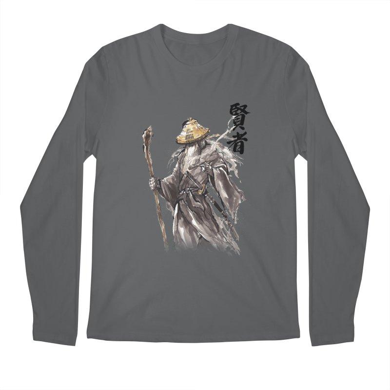 Samurai Gandalf with Japanese Calligraphy Wise Man Men's Longsleeve T-Shirt by mycks's Artist Shop