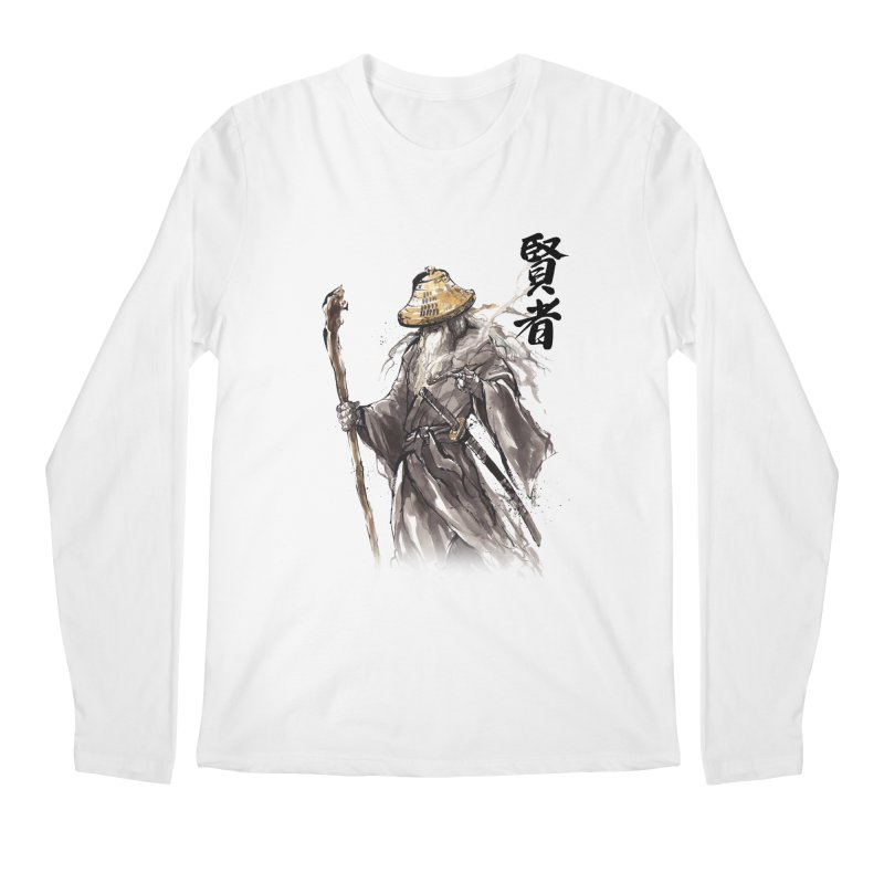 Samurai Gandalf with Japanese Calligraphy Wise Man Men's Longsleeve T-Shirt by mycks's Artist Shop