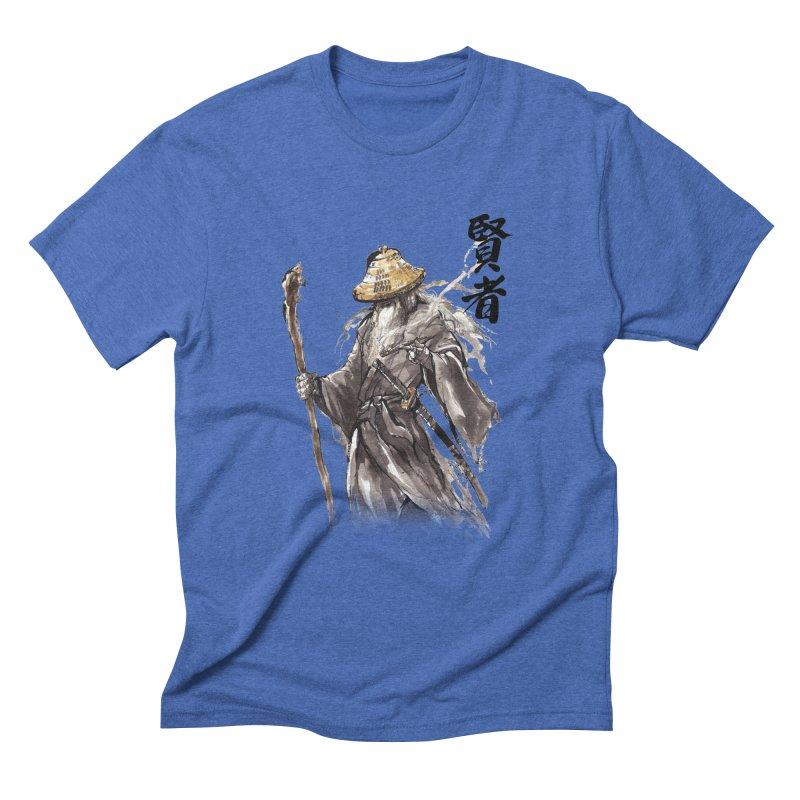 Samurai Gandalf with Japanese Calligraphy Wise Man Men's Triblend T-Shirt by mycks's Artist Shop