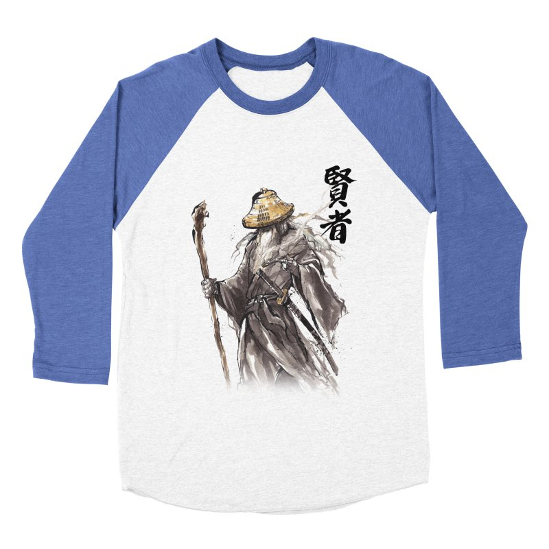 Samurai Gandalf with Japanese Calligraphy Wise Man Men's Baseball Triblend T-Shirt by mycks's Artist Shop