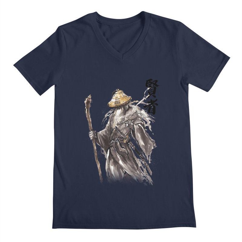 Samurai Gandalf with Japanese Calligraphy Wise Man Men's V-Neck by mycks's Artist Shop
