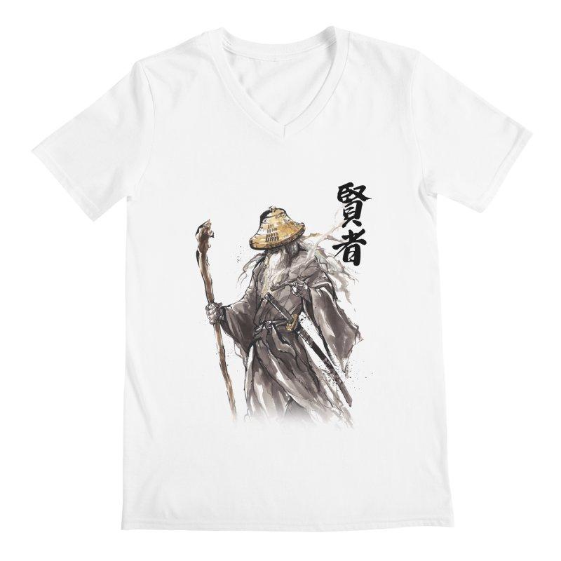 Samurai Gandalf with Japanese Calligraphy Wise Man Men's V-Neck by mycks's Artist Shop