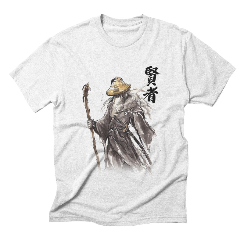 Samurai Gandalf with Japanese Calligraphy Wise Man Men's Triblend T-shirt by mycks's Artist Shop