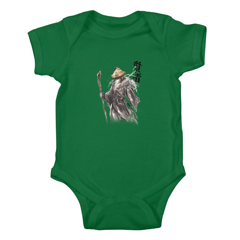Samurai Gandalf with Japanese Calligraphy Wise Man Kids Baby Bodysuit by mycks's Artist Shop