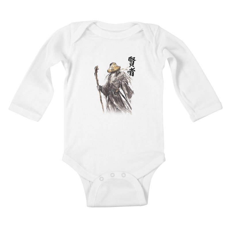 Samurai Gandalf with Japanese Calligraphy Wise Man Kids Baby Longsleeve Bodysuit by mycks's Artist Shop