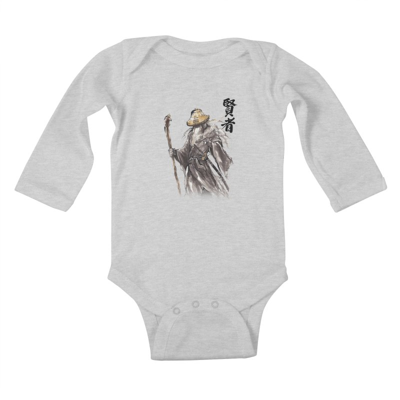 Samurai Gandalf with Japanese Calligraphy Wise Man Kids Baby Longsleeve Bodysuit by mycks's Artist Shop