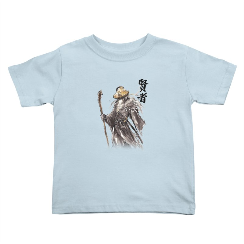 Samurai Gandalf with Japanese Calligraphy Wise Man Kids Toddler T-Shirt by mycks's Artist Shop