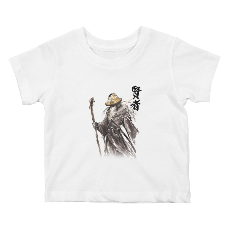 Samurai Gandalf with Japanese Calligraphy Wise Man Kids Baby T-Shirt by mycks's Artist Shop