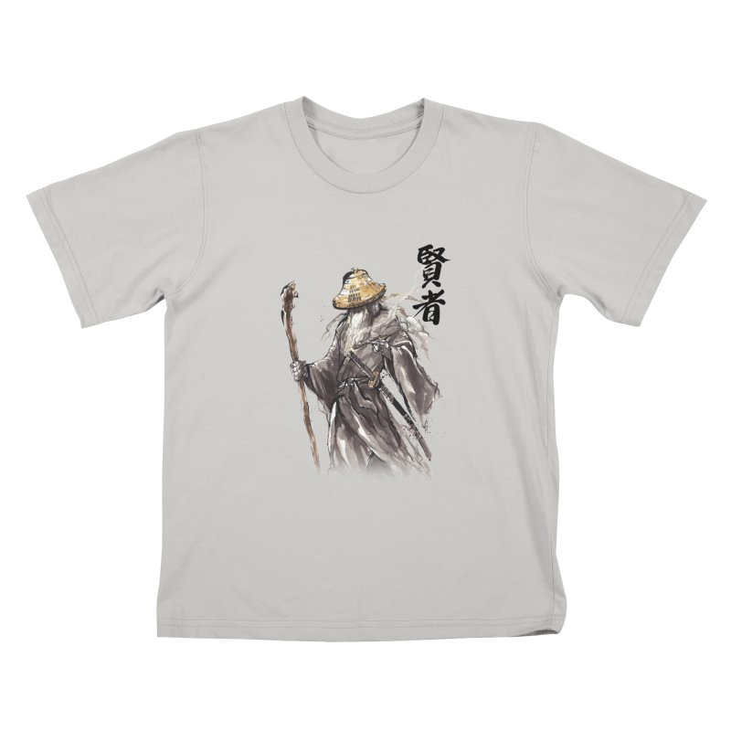 Samurai Gandalf with Japanese Calligraphy Wise Man Kids T-shirt by mycks's Artist Shop