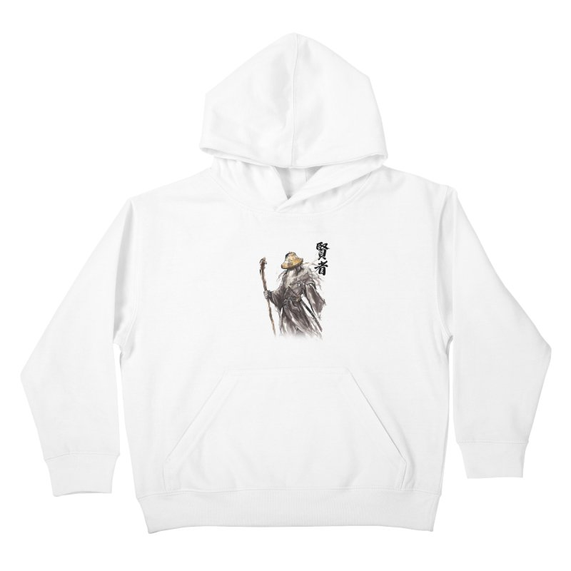 Samurai Gandalf with Japanese Calligraphy Wise Man Kids Pullover Hoody by mycks's Artist Shop