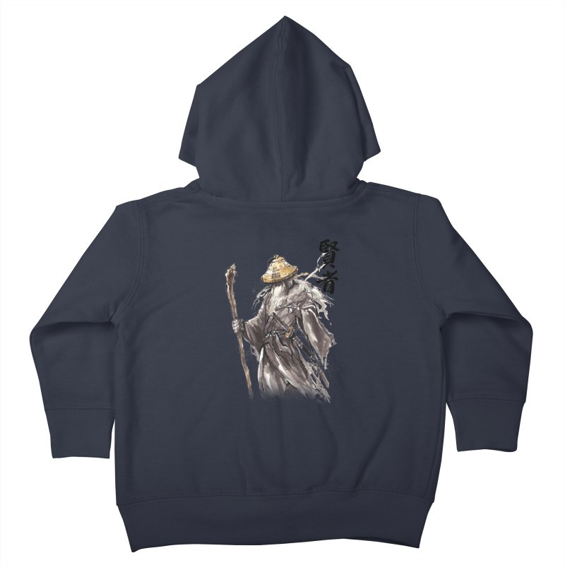 Samurai Gandalf with Japanese Calligraphy Wise Man Kids Toddler Zip-Up Hoody by mycks's Artist Shop