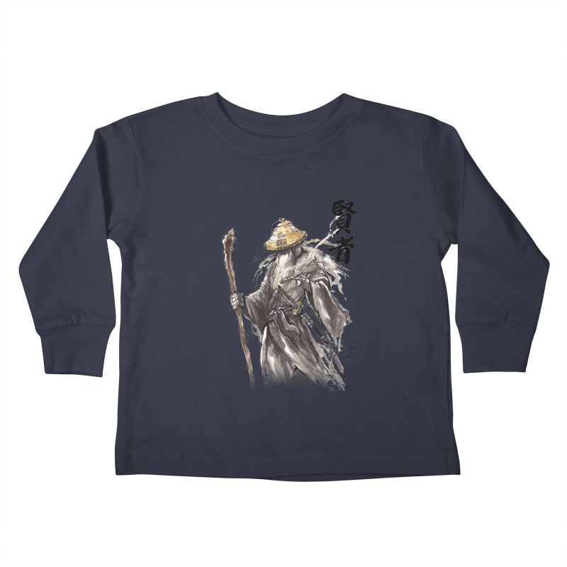 Samurai Gandalf with Japanese Calligraphy Wise Man Kids Toddler Longsleeve T-Shirt by mycks's Artist Shop