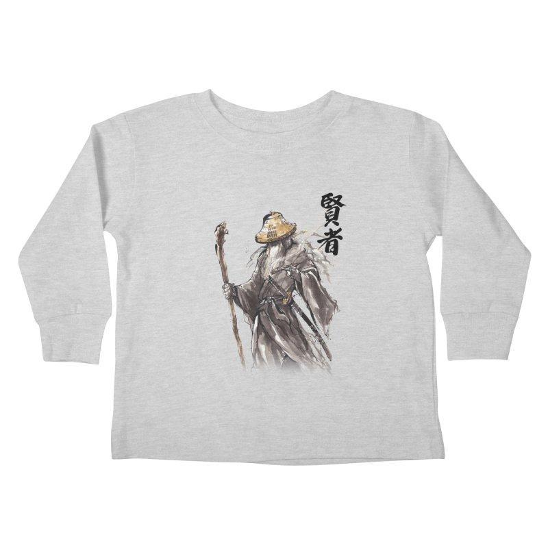 Samurai Gandalf with Japanese Calligraphy Wise Man Kids Toddler Longsleeve T-Shirt by mycks's Artist Shop