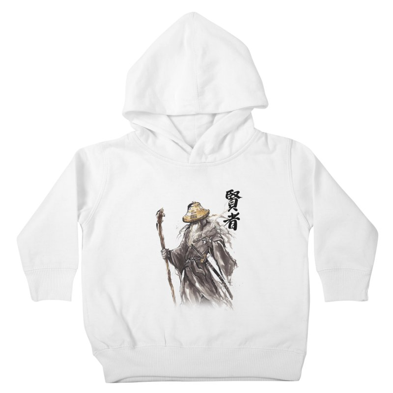 Samurai Gandalf with Japanese Calligraphy Wise Man Kids Toddler Pullover Hoody by mycks's Artist Shop