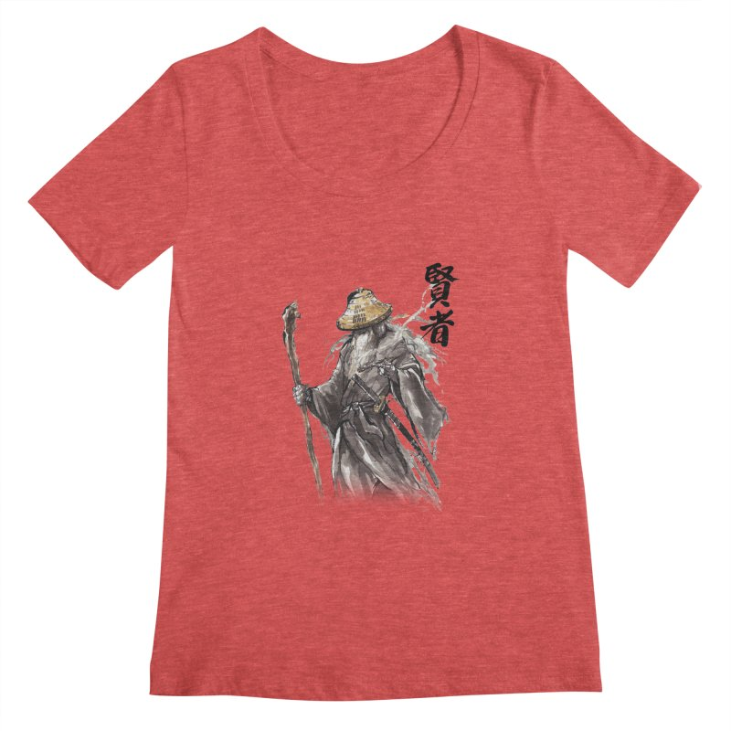 Samurai Gandalf with Japanese Calligraphy Wise Man Women's Scoopneck by mycks's Artist Shop