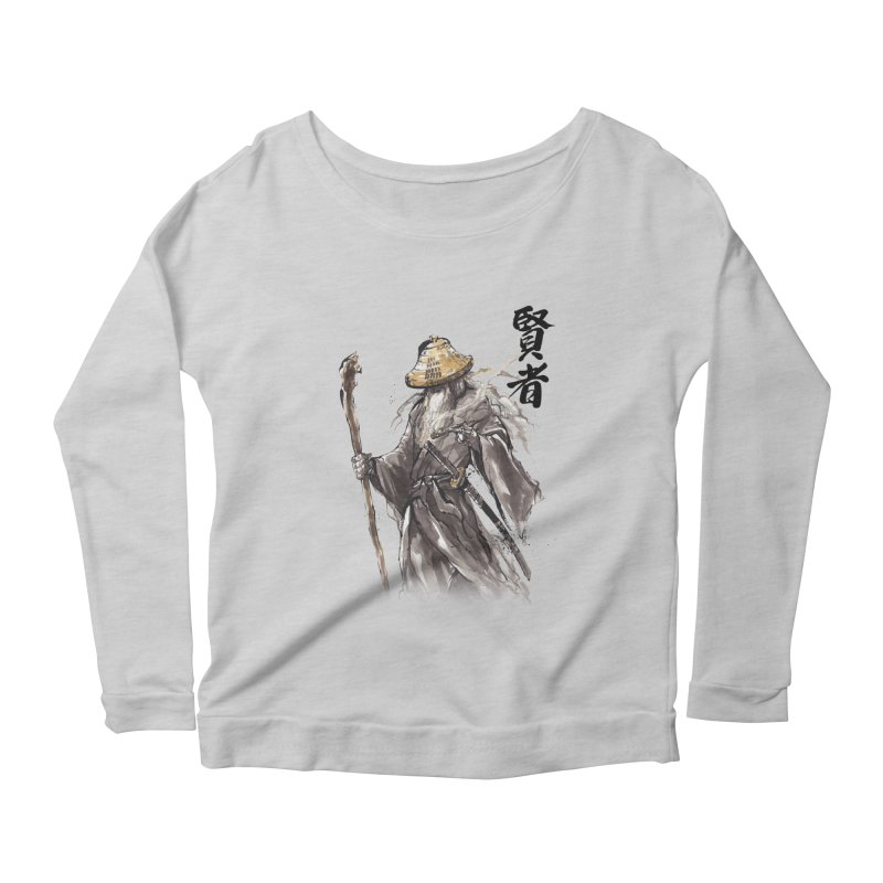 Samurai Gandalf with Japanese Calligraphy Wise Man Women's Longsleeve Scoopneck  by mycks's Artist Shop