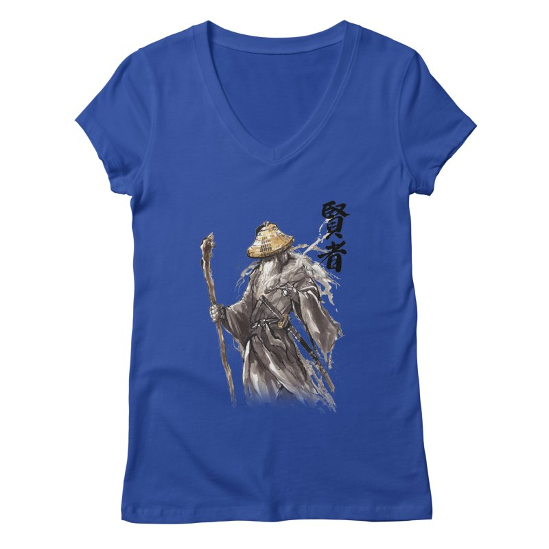 Samurai Gandalf with Japanese Calligraphy Wise Man Women's V-Neck by mycks's Artist Shop