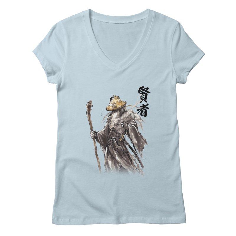 Samurai Gandalf with Japanese Calligraphy Wise Man Women's V-Neck by mycks's Artist Shop