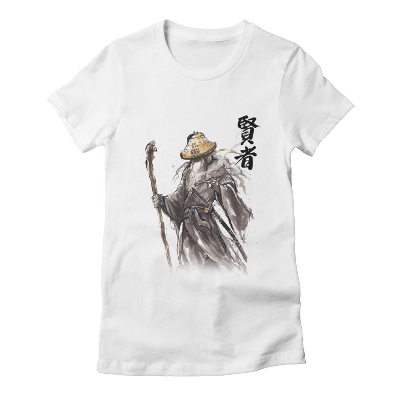 Samurai Gandalf with Japanese Calligraphy Wise Man Women's Fitted T-Shirt by mycks's Artist Shop