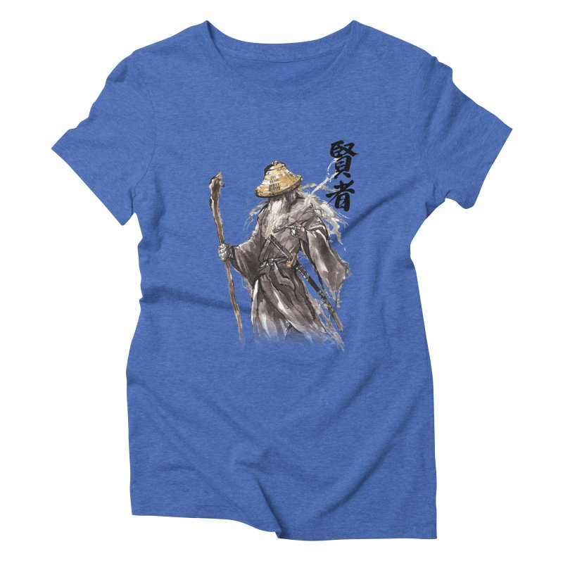 Samurai Gandalf with Japanese Calligraphy Wise Man Women's Triblend T-Shirt by mycks's Artist Shop