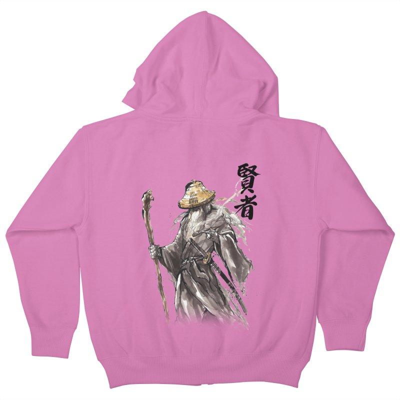 Samurai Gandalf with Japanese Calligraphy Wise Man Kids Zip-Up Hoody by mycks's Artist Shop