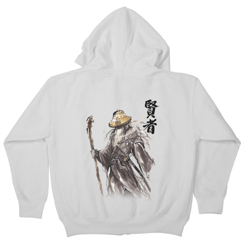 Samurai Gandalf with Japanese Calligraphy Wise Man Kids Zip-Up Hoody by mycks's Artist Shop