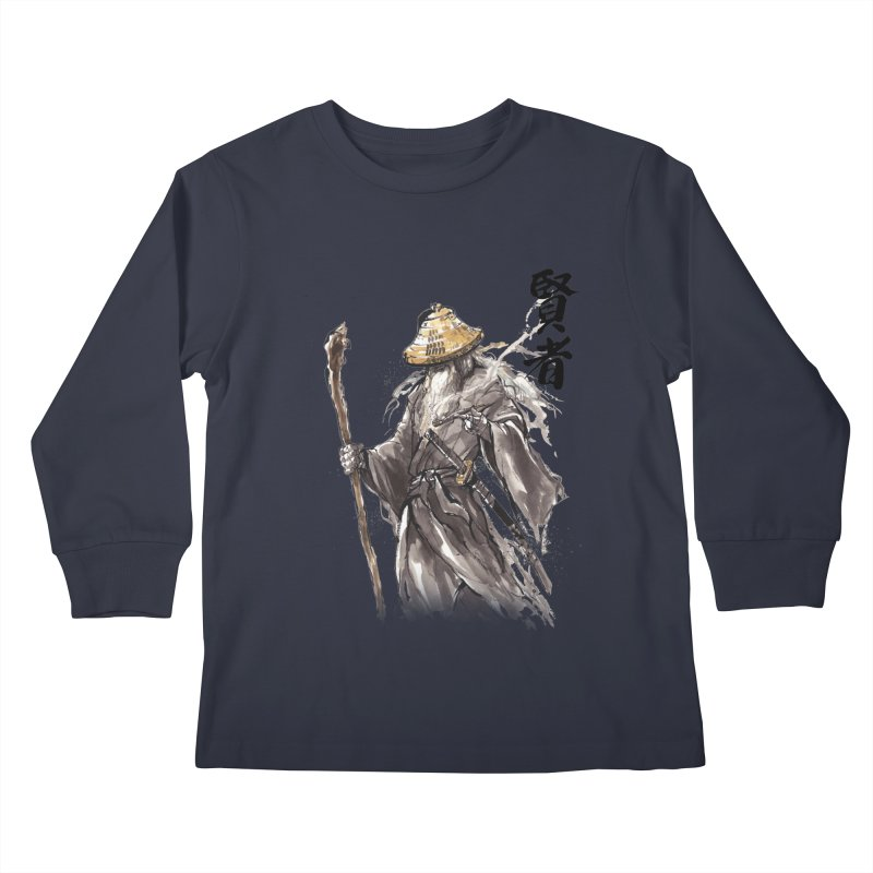 Samurai Gandalf with Japanese Calligraphy Wise Man Kids Longsleeve T-Shirt by mycks's Artist Shop