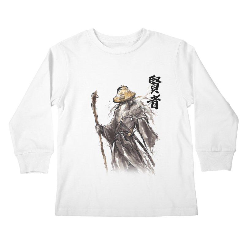Samurai Gandalf with Japanese Calligraphy Wise Man Kids Longsleeve T-Shirt by mycks's Artist Shop