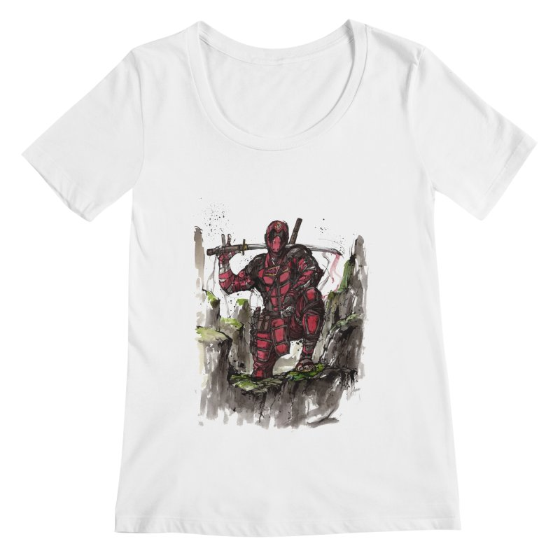 Deadpool samurai sumie Women's Scoopneck by mycks's Artist Shop