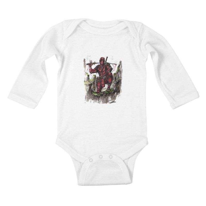 Deadpool samurai sumie Kids Baby Longsleeve Bodysuit by mycks's Artist Shop