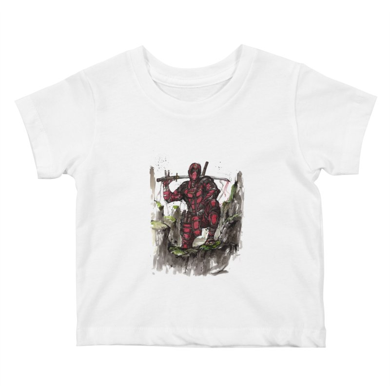 Deadpool samurai sumie Kids Baby T-Shirt by mycks's Artist Shop