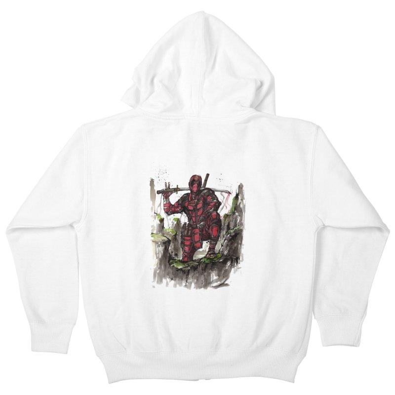 Deadpool samurai sumie Kids Zip-Up Hoody by mycks's Artist Shop