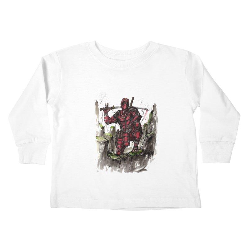Deadpool samurai sumie Kids Toddler Longsleeve T-Shirt by mycks's Artist Shop