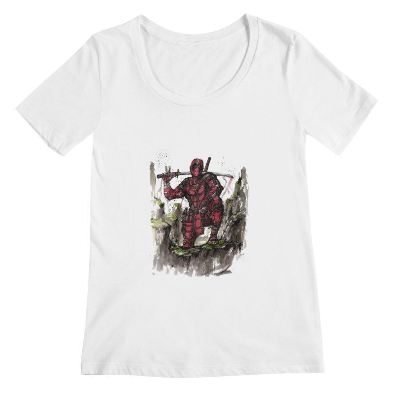 Deadpool samurai sumie Women's Scoopneck by mycks's Artist Shop
