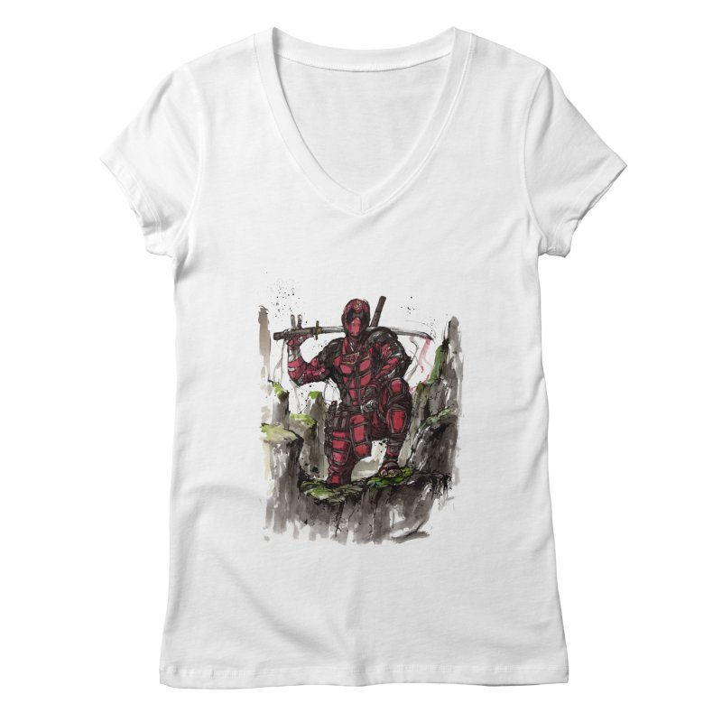 Deadpool samurai sumie Women's V-Neck by mycks's Artist Shop