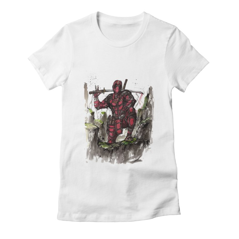 Deadpool samurai sumie Women's Fitted T-Shirt by mycks's Artist Shop