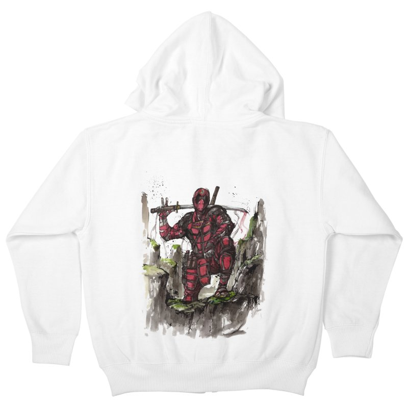 Deadpool samurai sumie Kids Zip-Up Hoody by mycks's Artist Shop