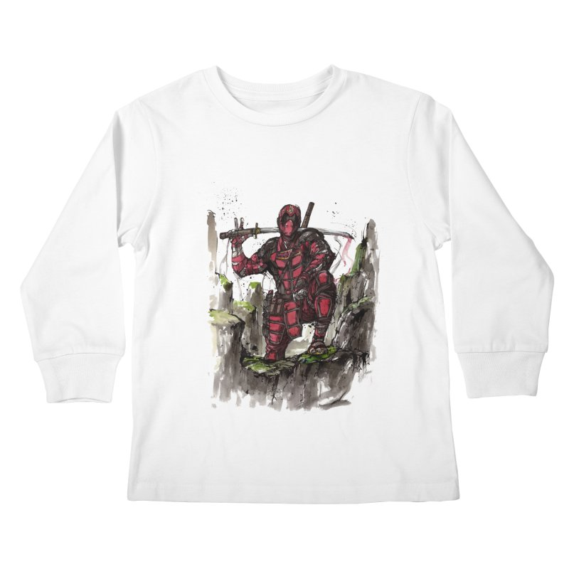 Deadpool samurai sumie Kids Longsleeve T-Shirt by mycks's Artist Shop