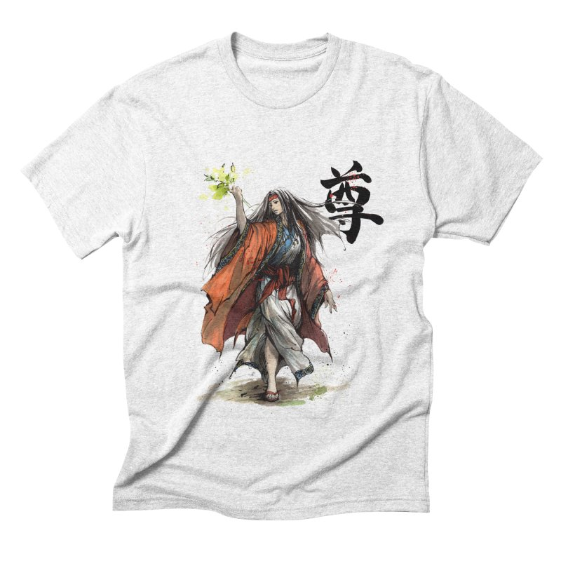 Himiko with Japanese Calligraphy Noble Sacred Men's Triblend T-shirt by mycks's Artist Shop