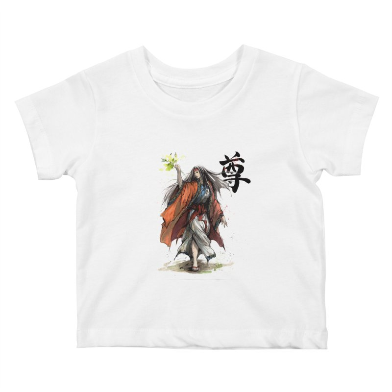 Himiko with Japanese Calligraphy Noble Sacred Kids Baby T-Shirt by mycks's Artist Shop