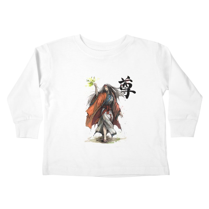 Himiko with Japanese Calligraphy Noble Sacred Kids Toddler Longsleeve T-Shirt by mycks's Artist Shop